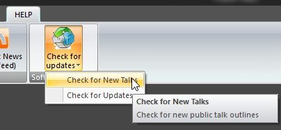 Check for new Talks button