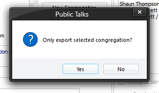 Only export selected congregation prompt