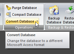 Convert Database button