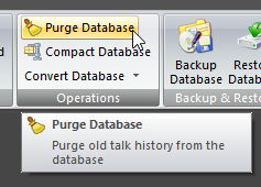 Purge Database button