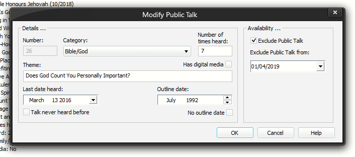Add / Modify Public Talk